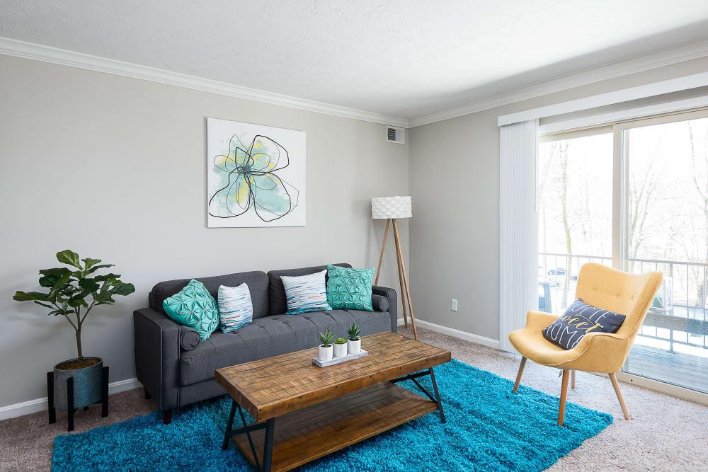 Park at Hurstbourne offers a modern living room in Louisville, Kentucky
