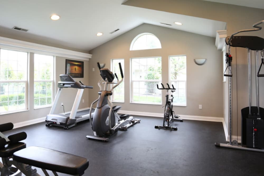 Luxury apartments with a fitness center at College Park in Columbus, Ohio