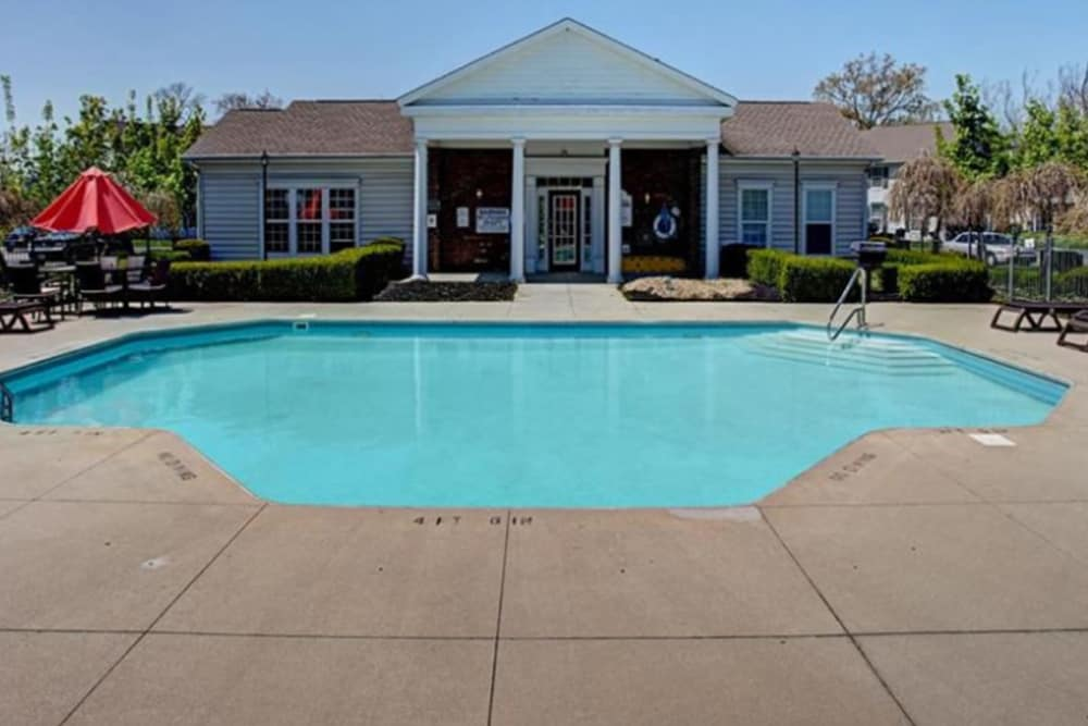 Luxury apartments with a swimming pool at College Park in Columbus, Ohio
