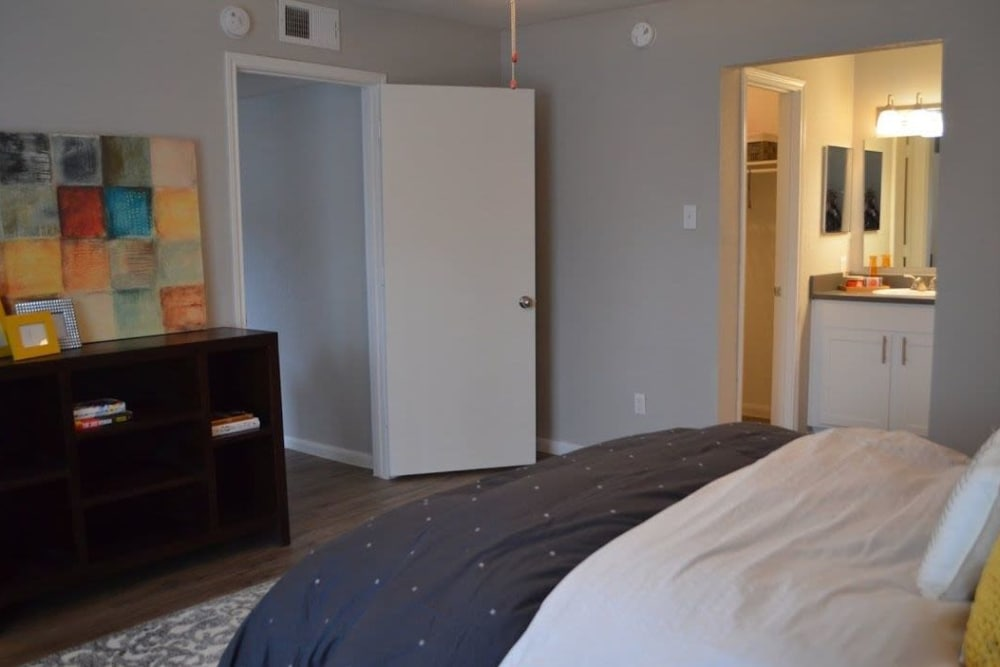 Model bedroom at Bayou Parc at Oak Forest in Houston, Texas