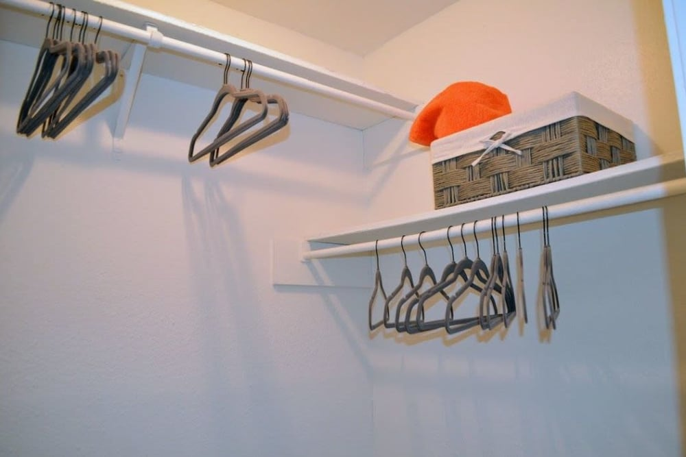 Walk-in closet at Bayou Parc at Oak Forest in Houston, Texas