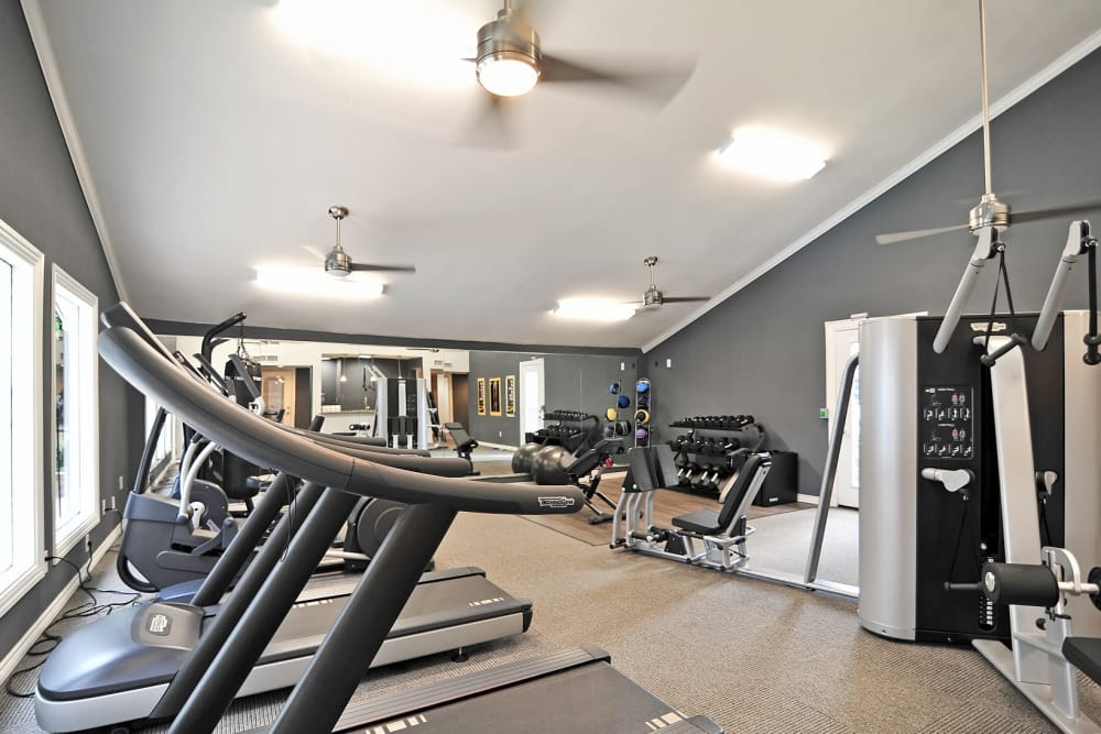 Modern fitness center at Bayou Parc at Oak Forest in Houston, Texas