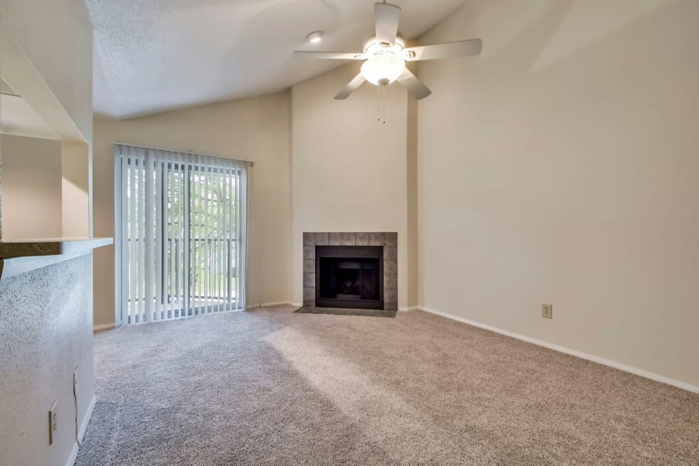 Living room with fireplace at Nichols Park in Austin, Texas