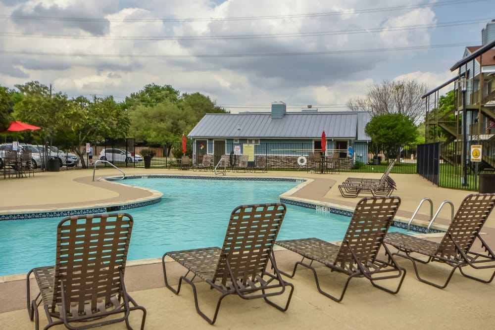 Swimming pool chairs at Nichols Park in Austin, Texas