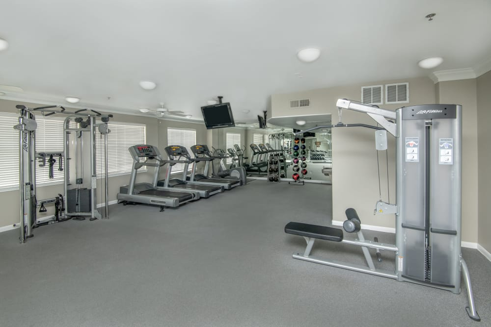 Fitness center at Chateau de Ville in Farmers Branch, Texas