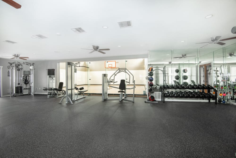 Spacious fitness center at The Springs of Indian Creek in Carrollton, Texas