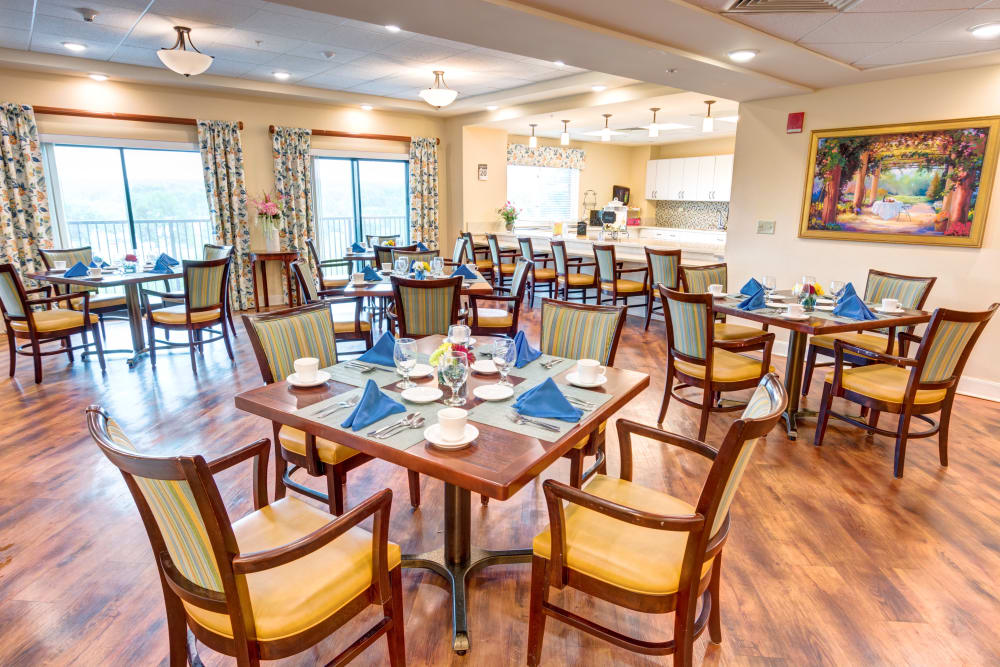 Community dining room at Woodland Heights in Little Rock, Arkansas