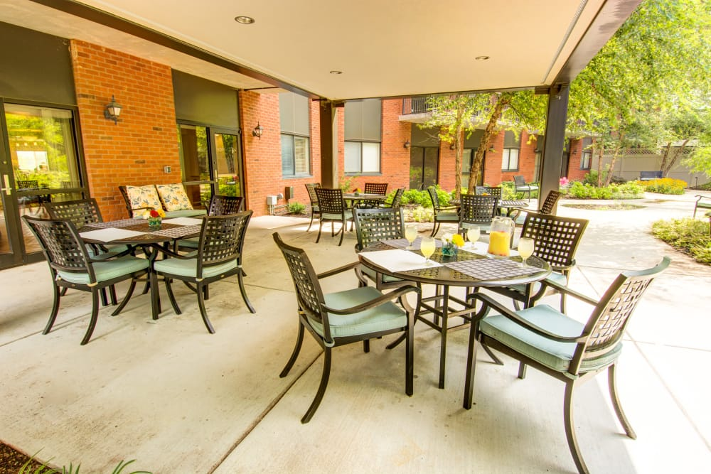 Outdoor patio area at Woodland Heights in Little Rock, Arkansas