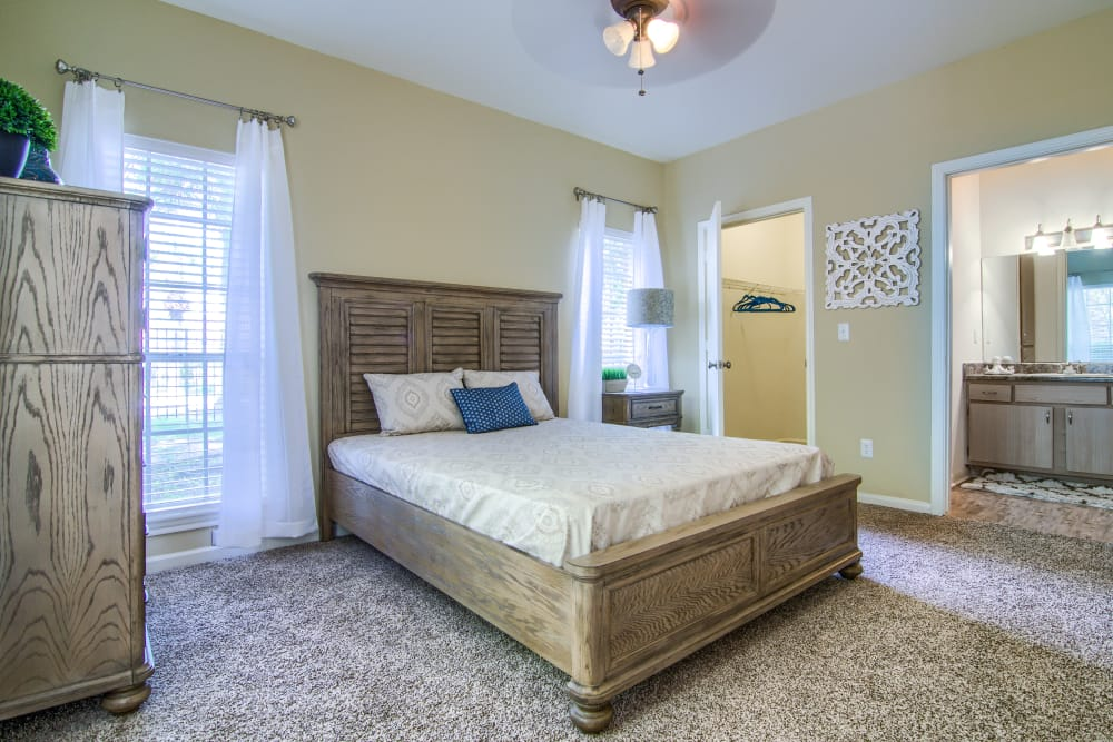 Carpeted bedroom at The Lexington Apartment Homes in Biloxi, Mississippi