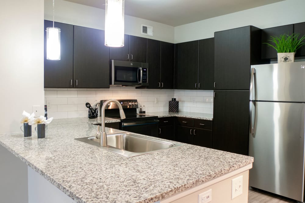 Upgraded appliances at Addison Keller Springs in Addison, Texas