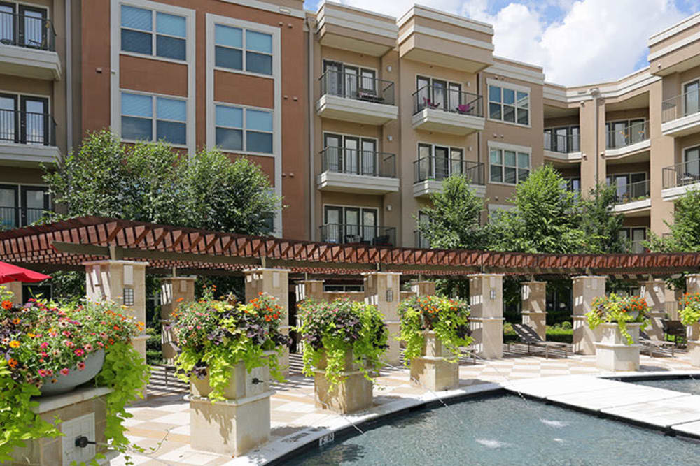 Exterior of building by the pool at Addison Keller Springs in Addison, Texas