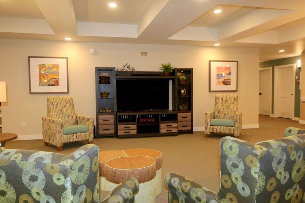 Relaxing in a social lounge at Westwind Memory Care in Santa Cruz