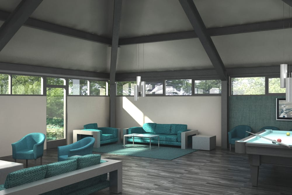 Render of our a beautiful living room at Cove West Hartford in West Hartford, Connecticut