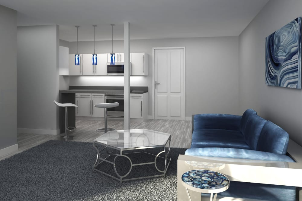 Render of a modern living room at Cove West Hartford in West Hartford, Connecticut