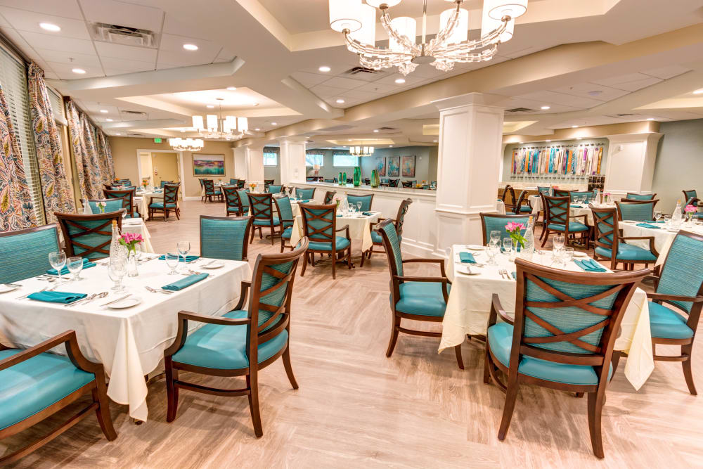 Dining room at Symphony at Delray Beach in Delray Beach, Florida.