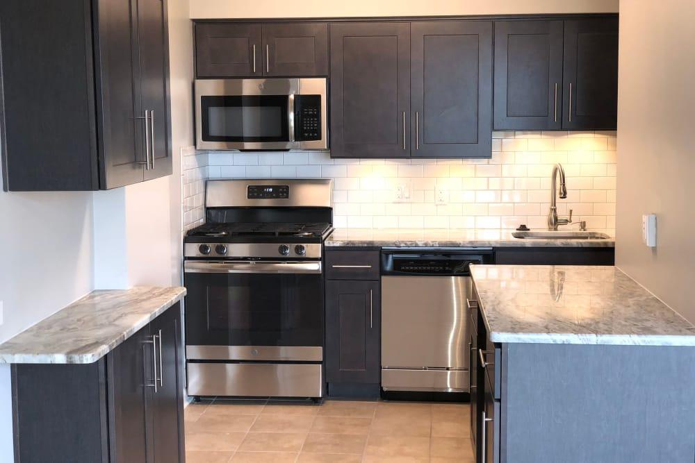 Alternative kitchen model at Haddonview Apartments