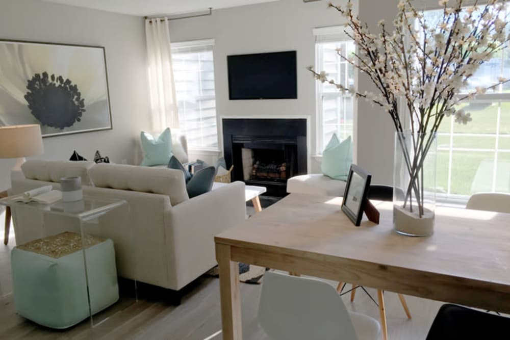 Model living room in Lawrenceville, New Jersey at Berkshire Stewards Crossing