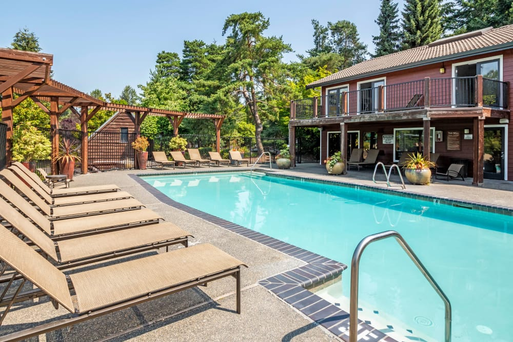 Beautiful swimming pool at The Mill at Mill Creek Apartments in Mill Creek, Washington