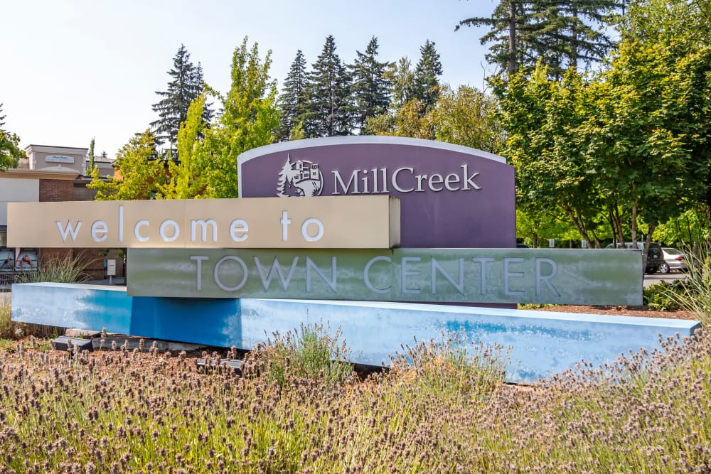 Beautiful entryway signage at The Mill at Mill Creek Apartments in Mill Creek, Washington