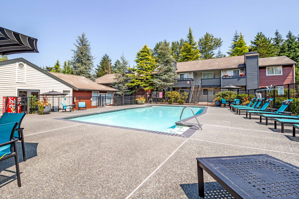 Luxury swimming pool at The Mill at Mill Creek Apartments in Mill Creek, Washington