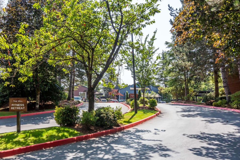 Beautiful entry grounds at The Mill at Mill Creek Apartments in Mill Creek, Washington