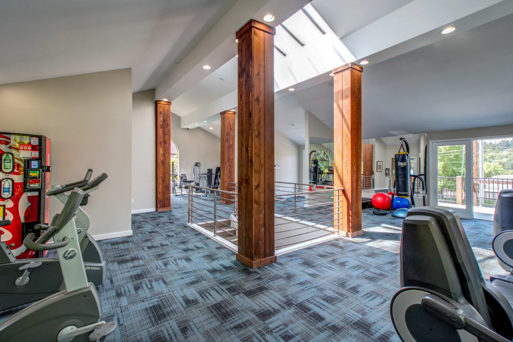 Beautiful fitness center at The Mill at Mill Creek Apartments in Mill Creek, Washington