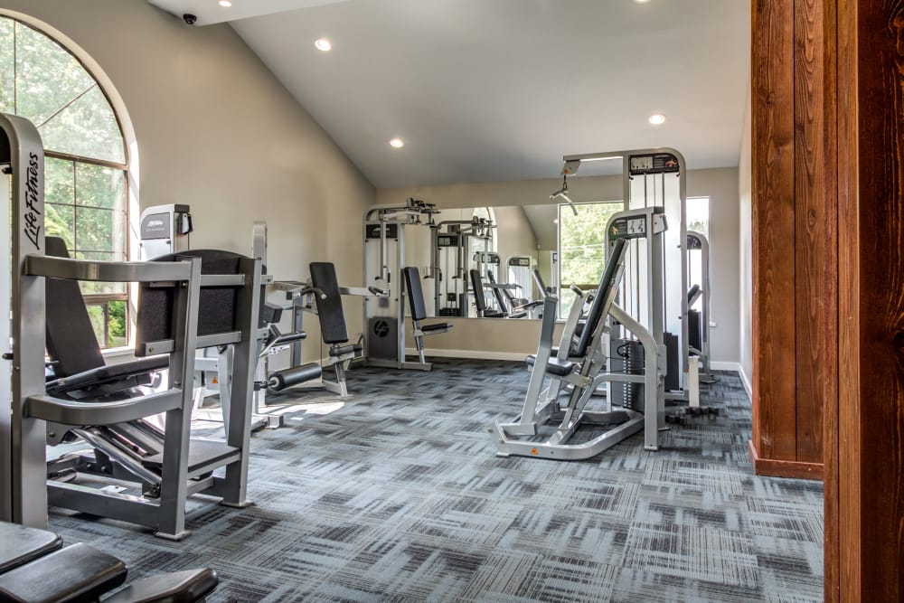 Modern fitness center at The Mill at Mill Creek Apartments in Mill Creek, Washington
