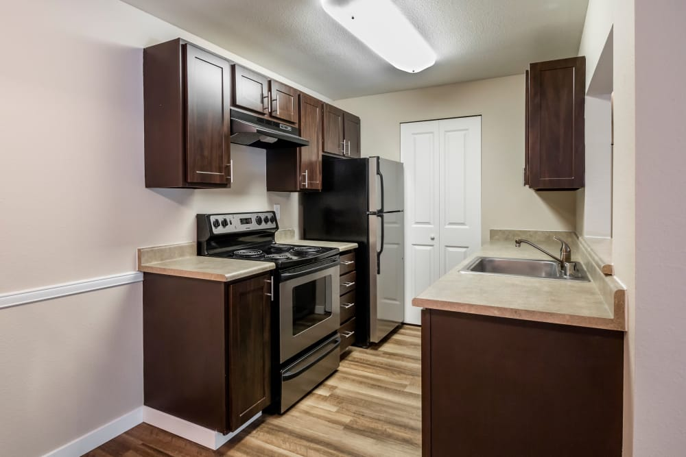 Modern kitchen at The Mill at Mill Creek Apartments in Mill Creek, Washington