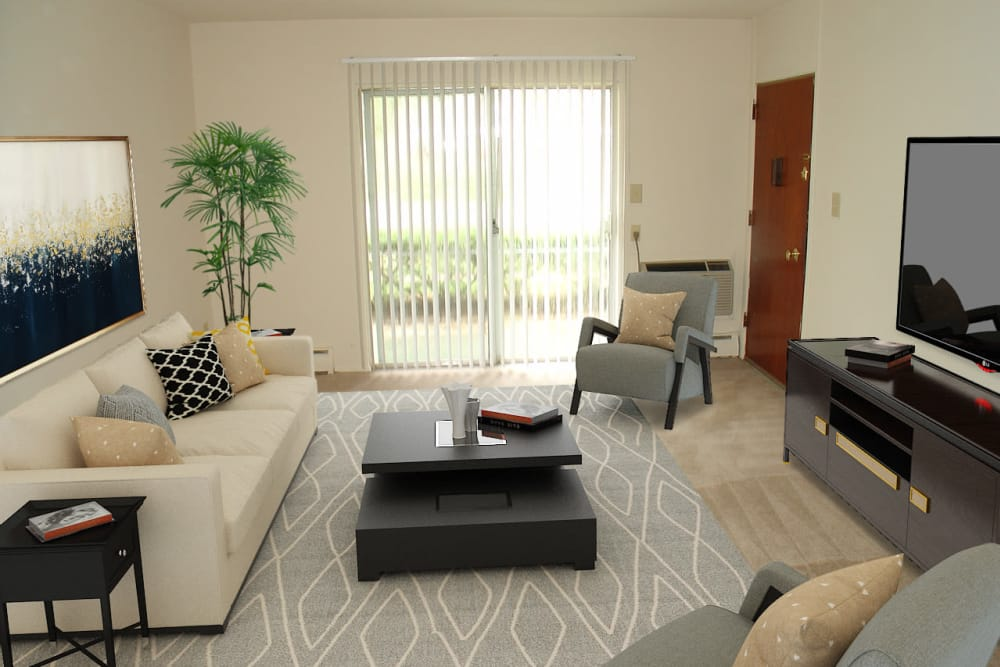 Spacious Living Room at Edgewater Gardens Apartment Homes in Long Branch, New Jersey