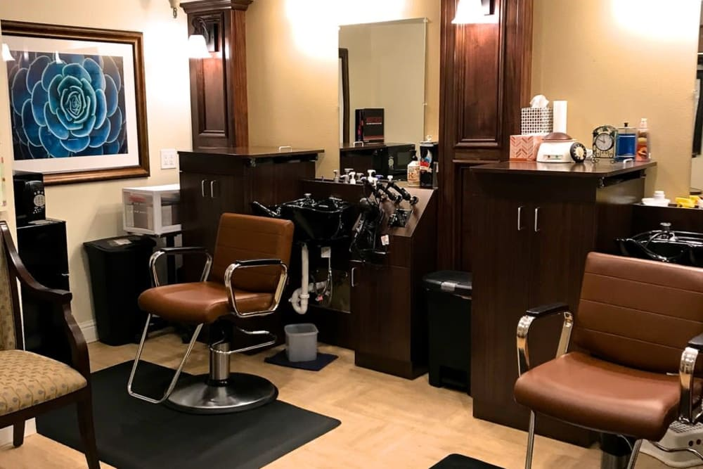 Comfortable barbershop at Pacifica Senior Living San Leandro in San Leandro, California