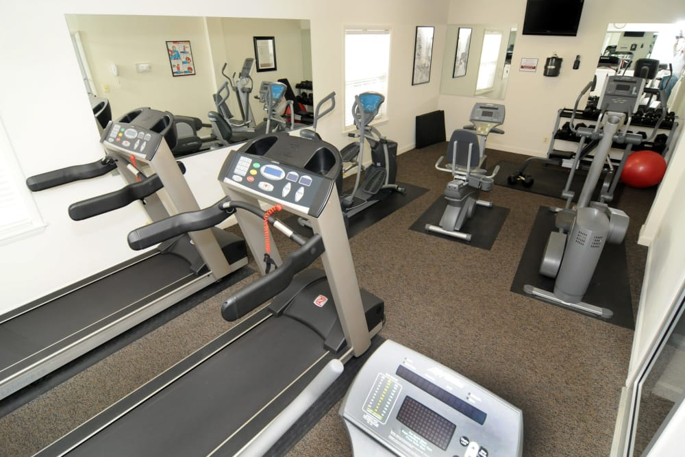 Fitness center at The Brittany Apartments in Pikesville, Maryland