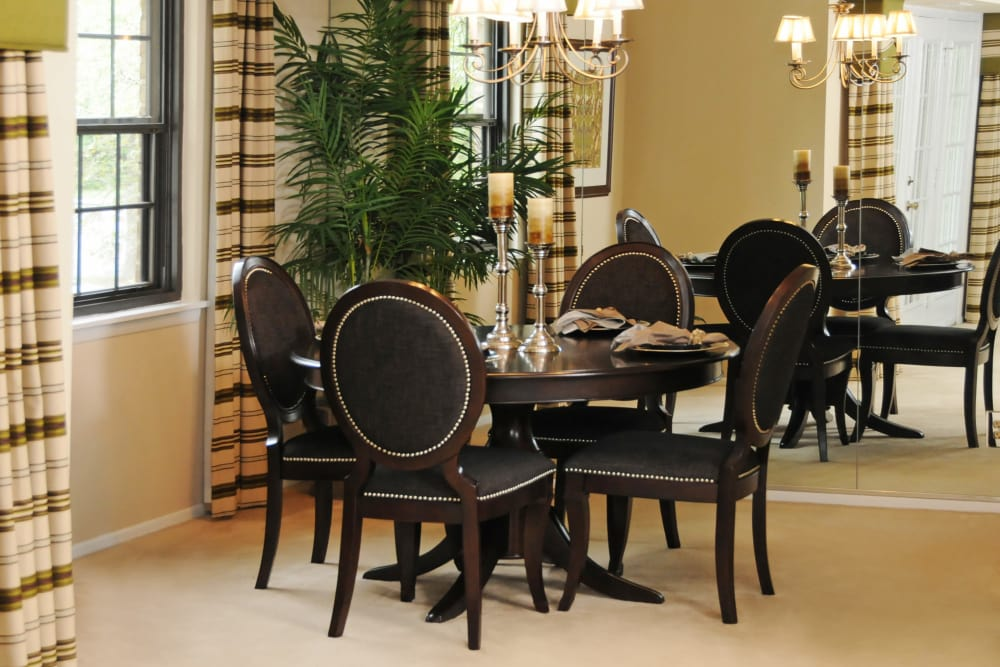 Dining room at The Brittany Apartments in Pikesville, Maryland