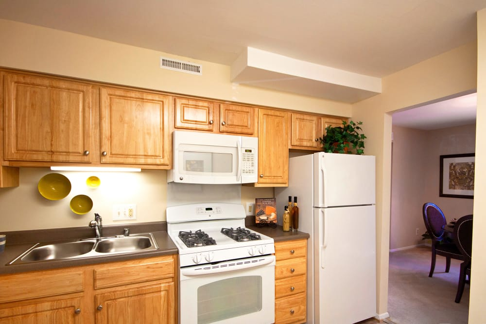 Modern kitchen at The Brittany Apartments in Pikesville, Maryland