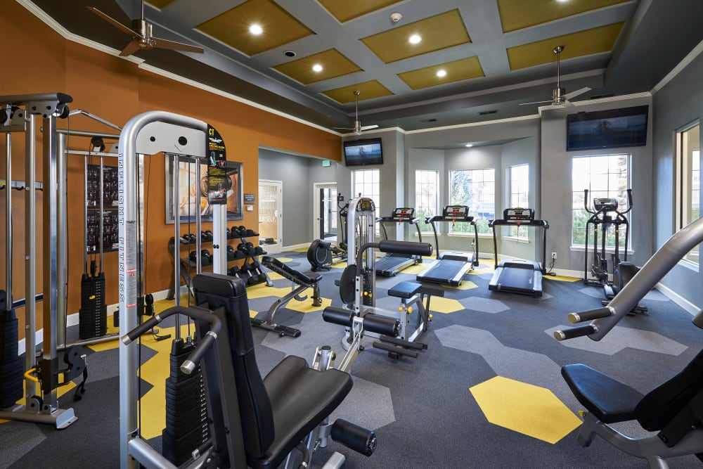 Clean, modern community gym at Legend Oaks Apartments in Aurora, Colorado