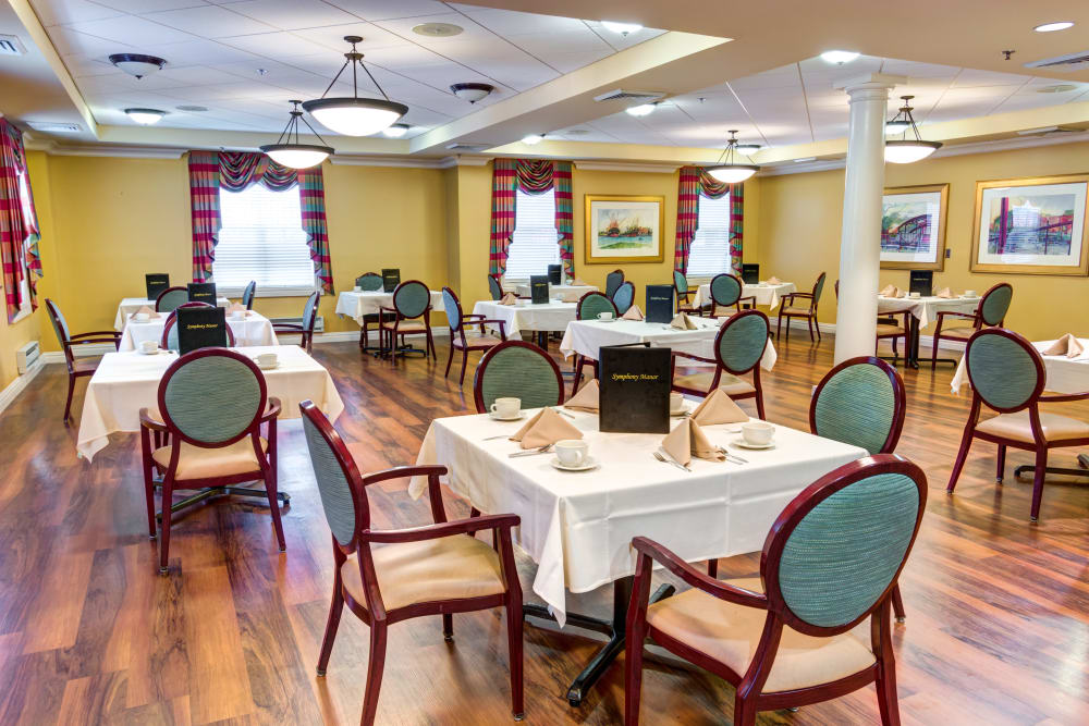 Community dining room at Symphony Manor in Baltimore, Maryland