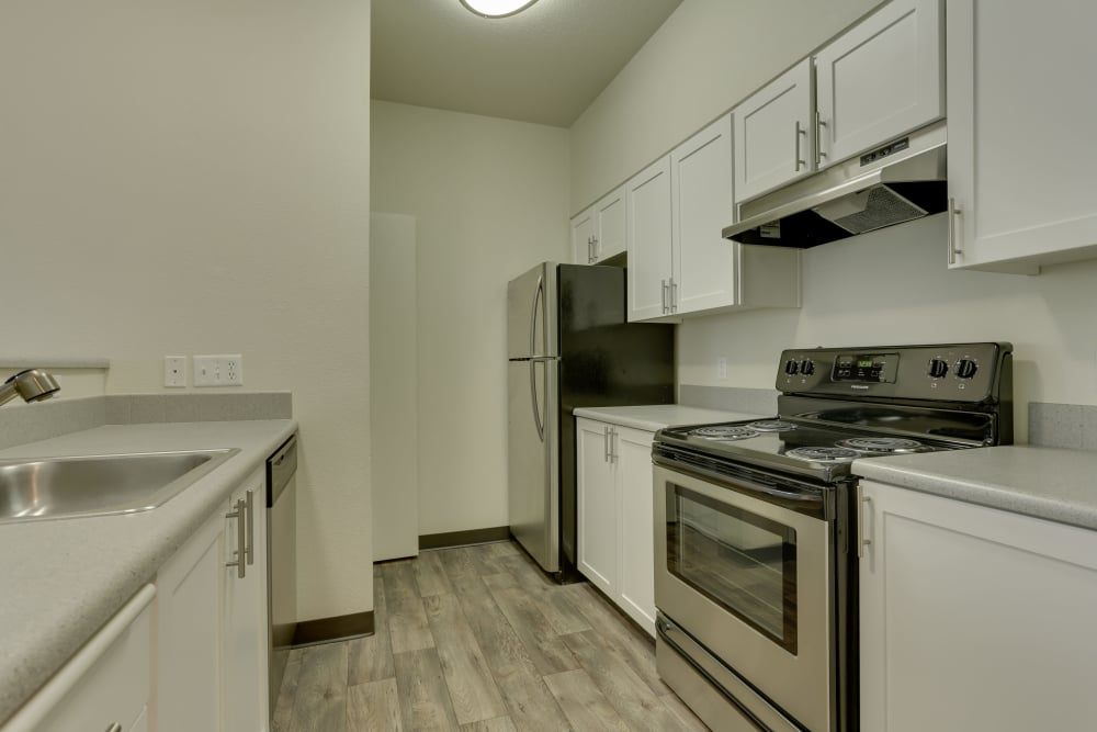 newly renovated white cabinetry kitchen with stainless steel appliances