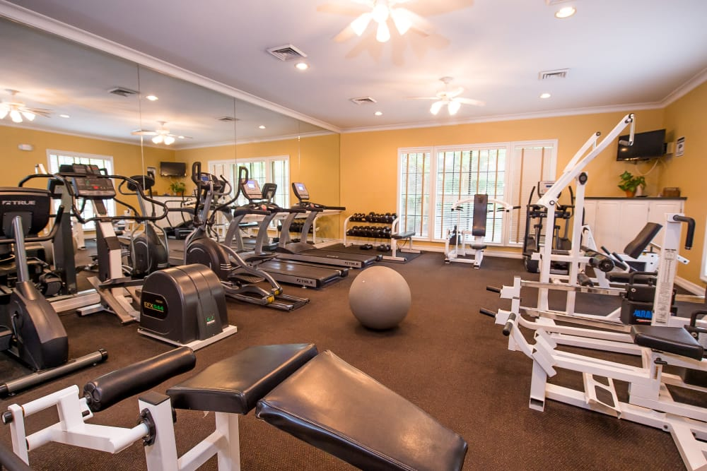Fitness center at Arbors of Pleasant Valley in Little Rock, Arkansas