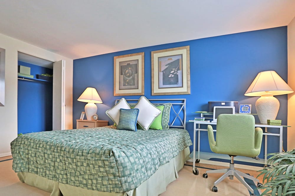 Model bedroom at Winston Apartments in Baltimore, Maryland