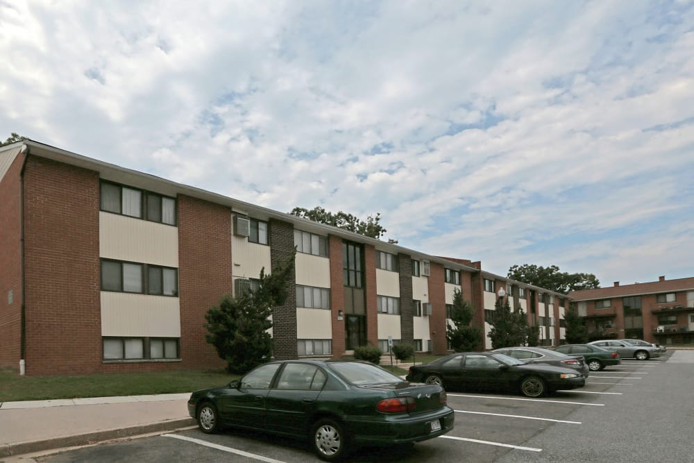 Parking lot at Winston Apartments in Baltimore, Maryland