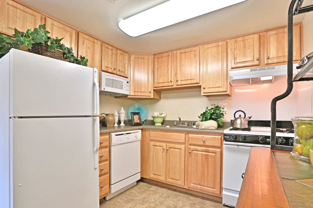 Fully equipped kitchen at Winston Apartments in Baltimore, Maryland