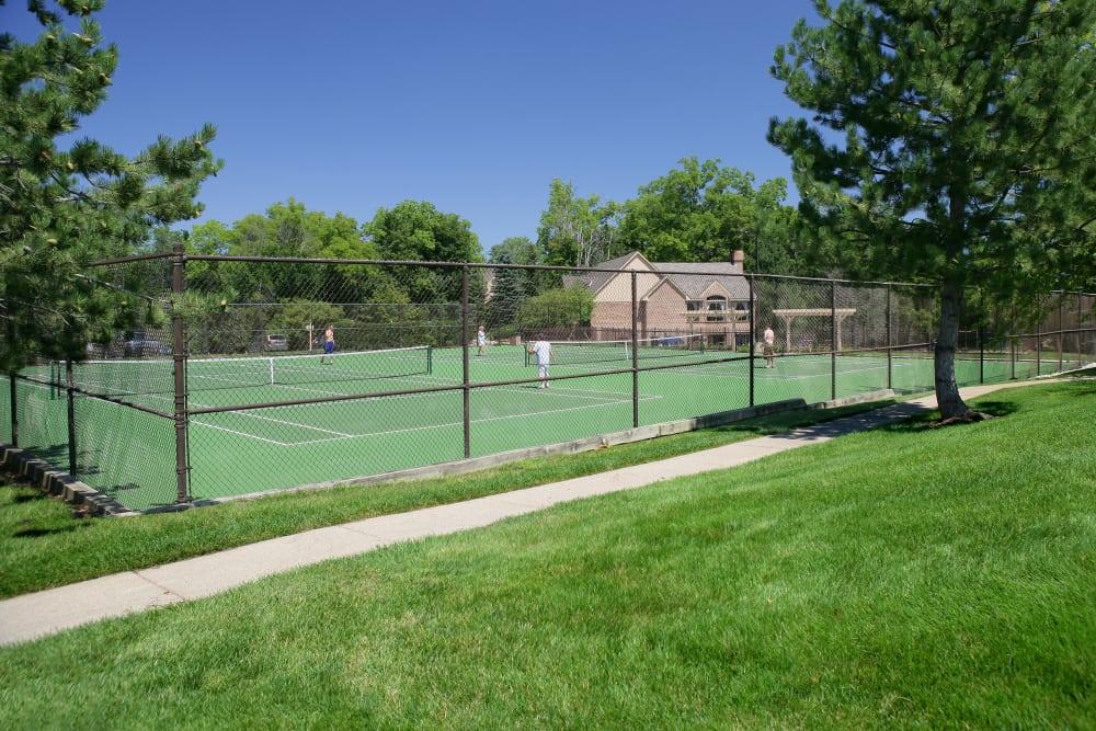 Tennis courts at Saddle Creek Apartments in Novi, Michigan