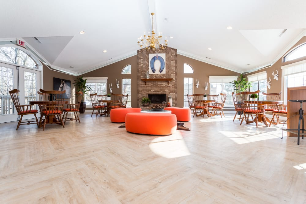 Plenty of space to chat with your neighbors in the resident clubhouse at Saddle Creek Apartments in Novi, Michigan
