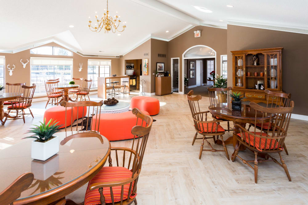 Interior view of the expansive resident clubhouse at Saddle Creek Apartments in Novi, Michigan
