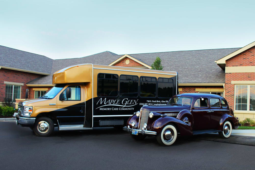 classic car and bus