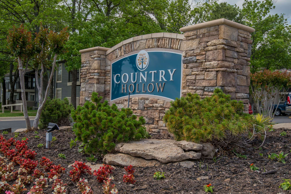 Welcome sign at Country Hollow in Tulsa, Oklahoma