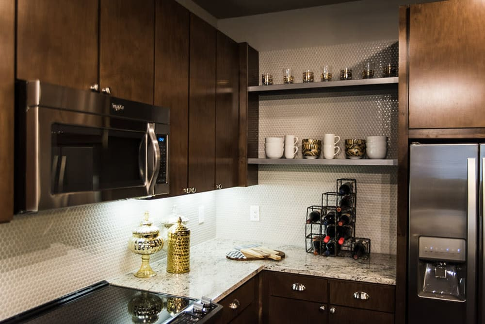 Well equipped kitchen at Aura 5515 in Dallas, Texas