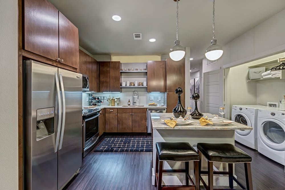 Newly renovated kitchen at Aura 5515 in Dallas, Texas