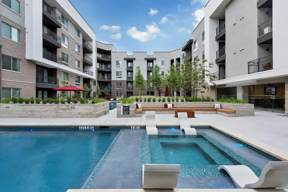 Newly renovated swimming pool at Aura 5515 in Dallas, Texas