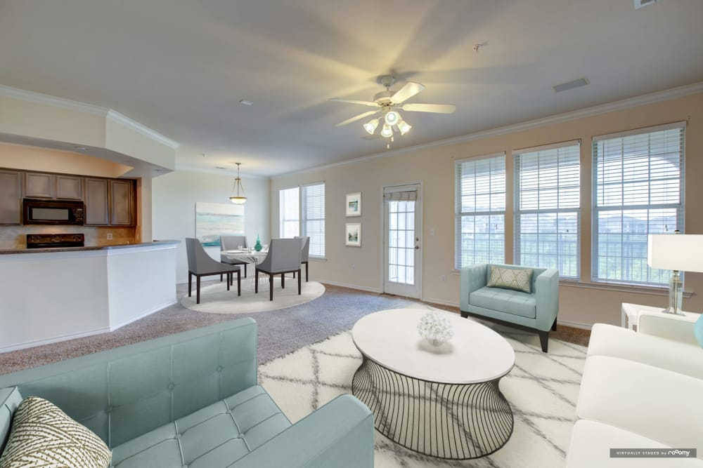 Spacious living room at Meritage at Steiner Ranch in Austin, Texas