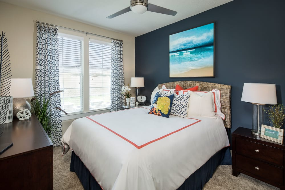 Bedroom at BluWater Apartments in Jacksonville Beach, Florida